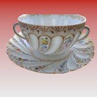 50 % SALE  Dresden Helena Wolfsohn Porcelain Cup/Saucer 1880-1891 Mark