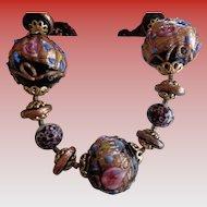 Vintage Venetian Glass Bead Necklace 17 in 1930