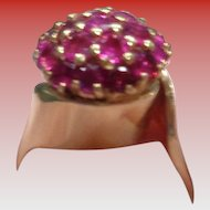 Fine 14K Gold and Ruby Dome Ring Size 7