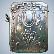 Sterling French Art Nouveau Match Holder/Vesta 1890-1910