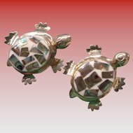 Pair of Sterling & Abalone Turtle Pins