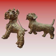 Two Gold Dog Pins - Beagle and Schnauzer