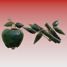 Two Vintage Genuine Jade Brooches/Pins