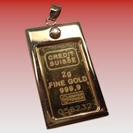 Pure Gold 999.9 Ingot Pendant with 1.5 mm Diamond