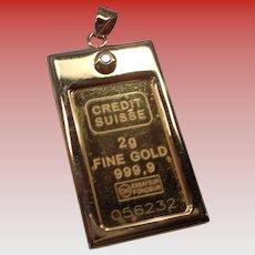 Pure Gold 999.9 Ingot Pendant with 1.5 mm Diamond