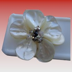 Mother-of-Pearl and Crystal Flower Brooch/Pin