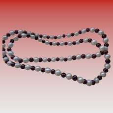 Vintage Cultured Pearl and Garnet Bead Necklace 24 inches