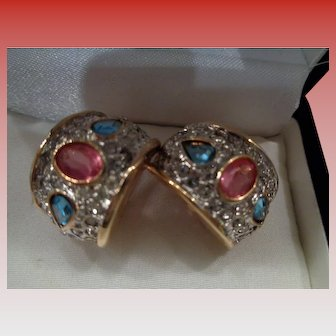Vintage Rhinestone Clip Earrings with gold fittings