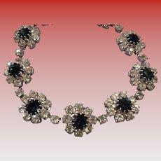 Vintage Faux Sapphire/Diamond Bracelet in Silver