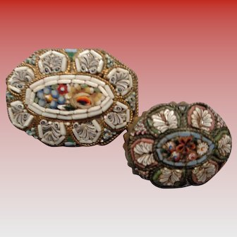 Lovely Pair of Micro-Mosaic Pins/Brooches from Italy