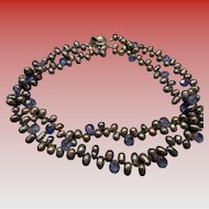 Freshwater Cultured pearls with blue crystals double strand