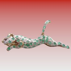 14K Cheetah Pin w/ Emeralds & Diamonds