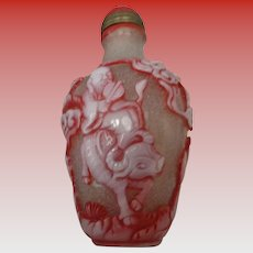 Chinese Peking Glass Snuff Bottle, Signed with Chop