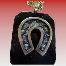 Micro-Mosaic Horseshoe Pendant w/ Rope Chain
