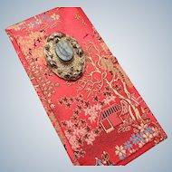 Silk Chinese Presentation Box with Onyx Stone Decoration
