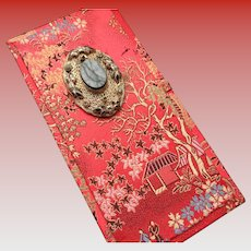 Silk Chinese Presentation Box with Onyx Stone Decoration