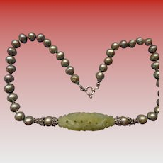 Silver Sage Baroque Pearls with Carved Chinese Hardstone