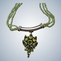 Peridot Beaded Necklace and Pendant with Sterling Fittings