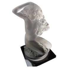 Lalique Frosted Crystal Nude Statue on Onyx