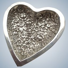 Famous Sterling Stieff Heart Repousse Dish