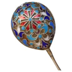 Russian Imperial Cloissone Enamel/Sterling Spoon 1890
