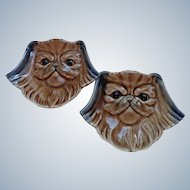 Pair Pekingese Dog Pin Dishes/Wall Plaques Wade Porcelain