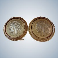 Stunning Vintage Gold French Coin Earrings