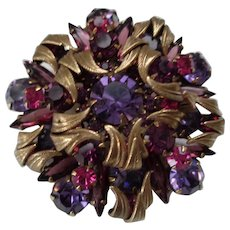 Stunning Pin/Pendant with Gold and Rhinestones 1950