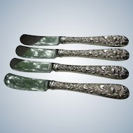 Kirk & Sons Sterling Paddle Blade Butter Knives (4)