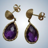 Genuine Amethyst and 14K Gold Earrings, 4.00 t.w. Carats, Pierced