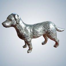 Brushed Silver Figural Dog Statue