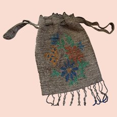 Lovely French Hand Beaded  Draw-String Purse