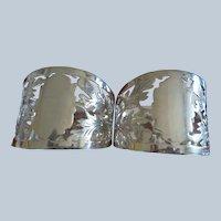 Pair Sterling Thistle Napkin Rings England Birmingham 1908