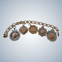 Spectacular Fobs or Charms in Gold/Silver with Gold Bracelet 14K