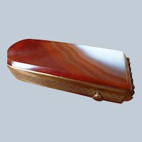 SALE Match Safe w/ Double Banded Agate in Brass