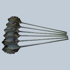 Six Silver Swizzle Stick Straws made in Denmark