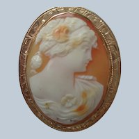 Superb Shell Cameo Pin/Pendant 10 K Rose Gold