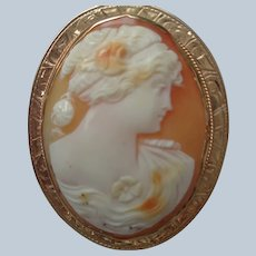 Superb Shell Cameo Pin/Pendant 10 K Rose Gold