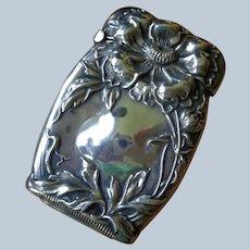 Art Nouveau Match Safe (1890-1910) in Sterling