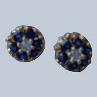 Sapphire/Diamond Earrings 14K Gold Studs