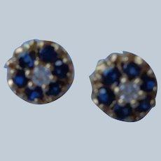 Sapphire/Diamond Earrings 14K Gold Studs