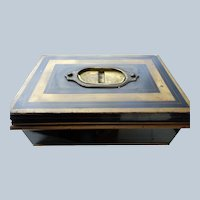 Toleware Cash Box W/ Tray and Key Early 1900's