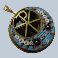 Micro-Mosaic Pendant w/ Garnets on Onyx