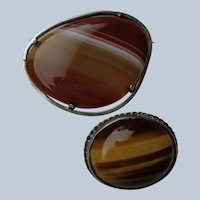 LAST CALL 50% OFF Two Scottish Pin/Brooches Banded Agates in Sterling Silver