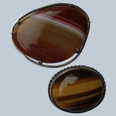 Two Scottish Pin/Brooches Banded Agates in Sterling Silver