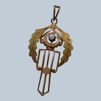 Art Nouveau Pendant/Laveliere 10K with Diamond and Pearl