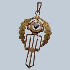 Art Nouveau Pendant/Laveliere 10K with Diamond and Pearl