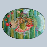 Folk Art Wooden Box by Helen Hiers Peterson Hand-Painted