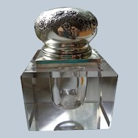 Antique Glass Inkwell with Sterling top 1870