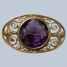 Antique 9c Rose Gold Amethyst Pin/Brooch, English 1901